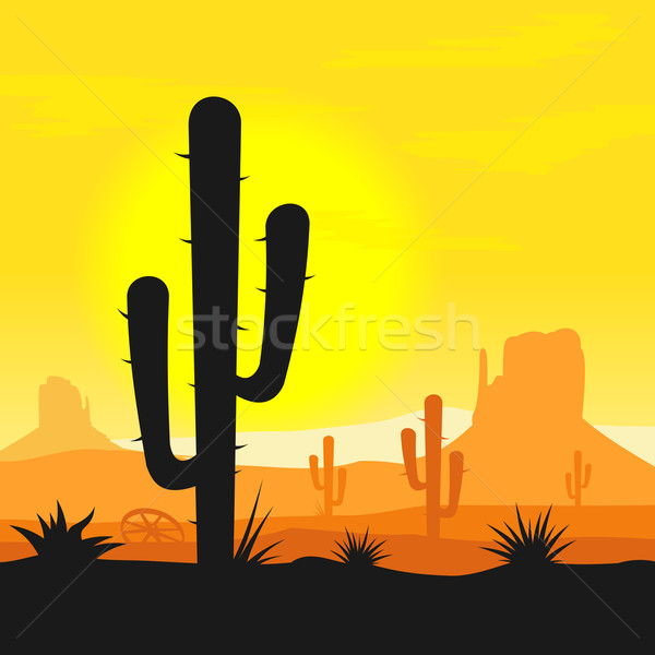 Stock photo: Cactus plants in desert