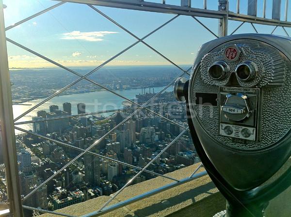 Kilátás Empire State Building felső híres New York felhőkarcoló Stock fotó © nikdoorg