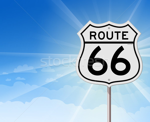 Stock photo: Route 66 Roadsign on Blue Sky