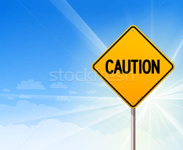 Caution on blue sky background Stock photo © nikdoorg
