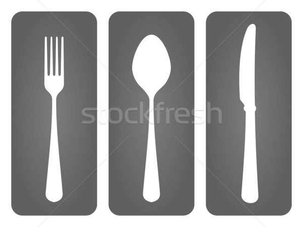 Cutlery Set in Black Stock photo © nikdoorg
