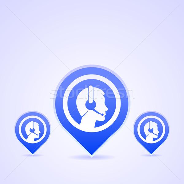 Hoofdtelefoon communicatie Blauw exploitant hoofd Stockfoto © nikdoorg