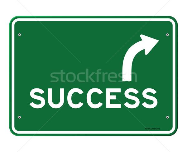 Sucesso assinar verde placa sinalizadora seta indicação Foto stock © nikdoorg