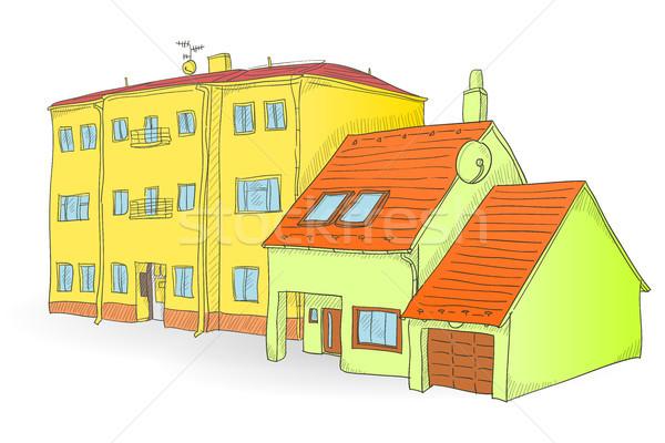 Handgemaakt gebouwen illustratie twee witte huis Stockfoto © nikdoorg