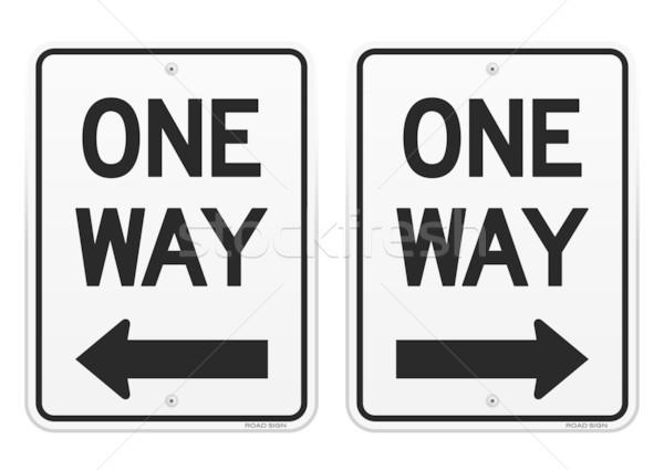 White One Way Signs Stock photo © nikdoorg