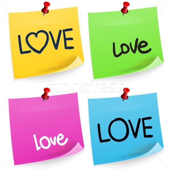 Szeretet öntapadó jegyzet hagyományos iroda papír matrica Stock fotó © nikdoorg