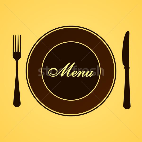 Menu almoço jantar marrom talheres conjunto Foto stock © nikdoorg