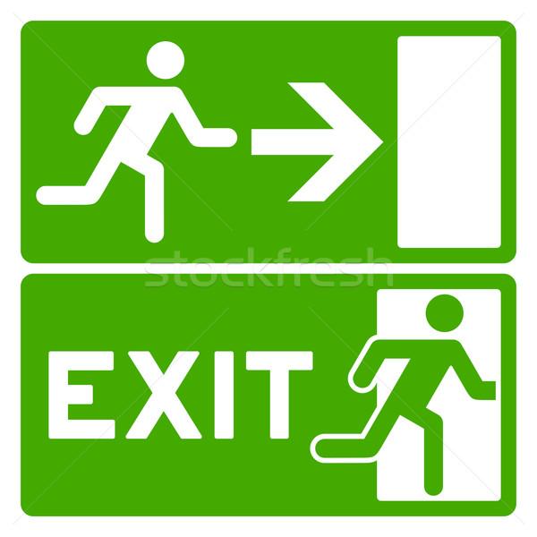 Groene uitgang symbool ontsnappen veiligheid teken Stockfoto © nikdoorg