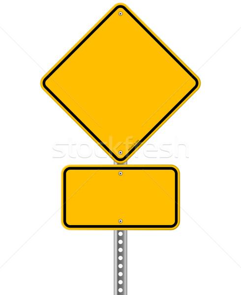 Amarelo assinar pólo vazio cinza Foto stock © nikdoorg