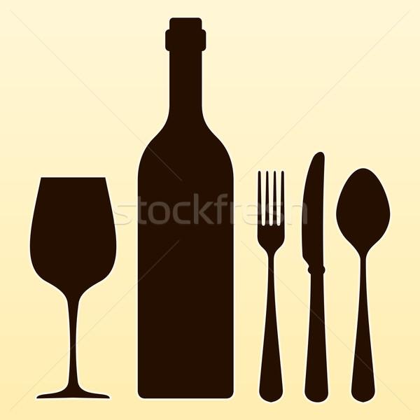 бутылку вина приборы коричневый бутылку стекла вилка Сток-фото © nikdoorg