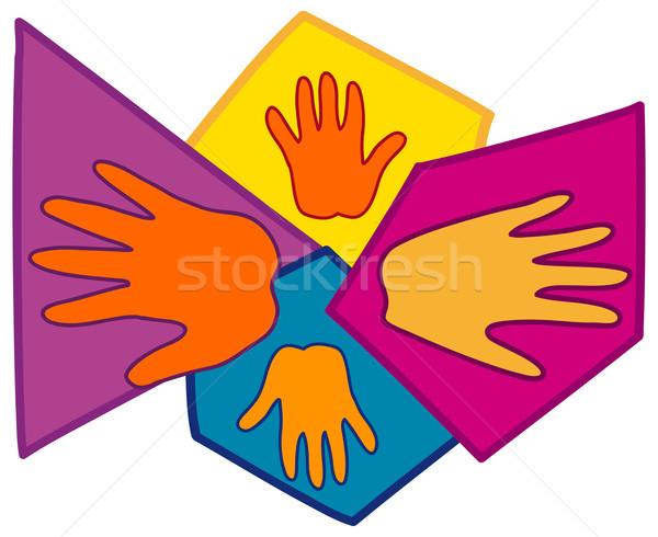 Main symboles ensemble main humaine silhouettes résumé Photo stock © nikdoorg