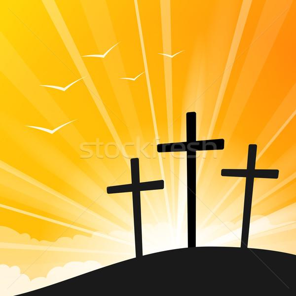 Wielkanoc stylu trzy krzyże ilustracja żółty Zdjęcia stock © nikdoorg