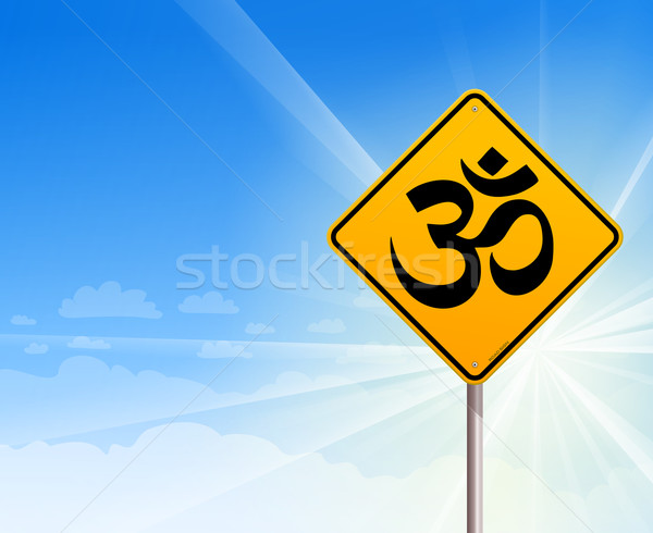 Om Yoga sign and blue sky Stock photo © nikdoorg
