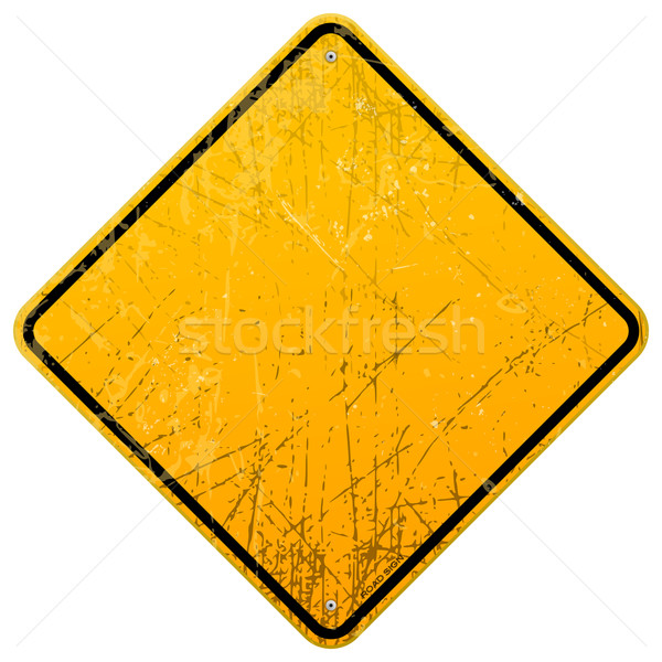 Rozsdás citromsárga felirat üres útjelzés fekete Stock fotó © nikdoorg