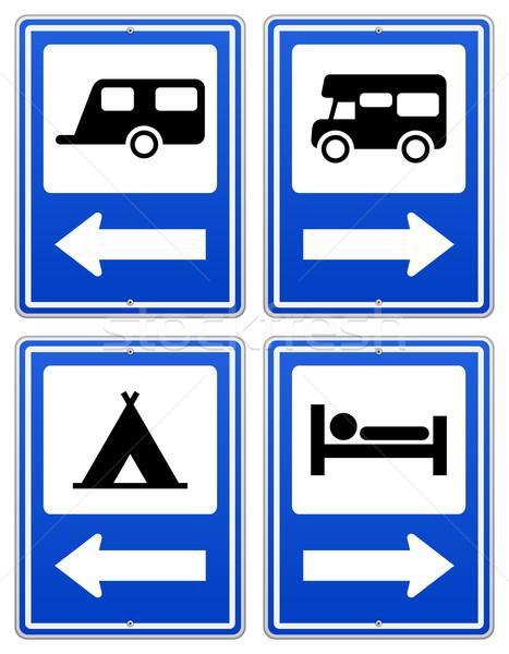 Azul acampamento assinar placa sinalizadora conjunto seta Foto stock © nikdoorg