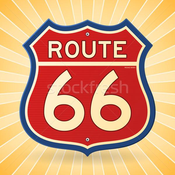 Vintage ruta 66 símbolo transporte senalización de la carretera rojo Foto stock © nikdoorg