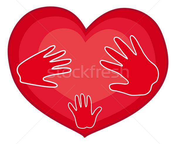 Photo stock: Mains · coeur · rouge · famille · symbole · humaine