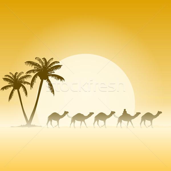 Chameaux palmiers palmiers chameau caravane illustration Photo stock © nikdoorg