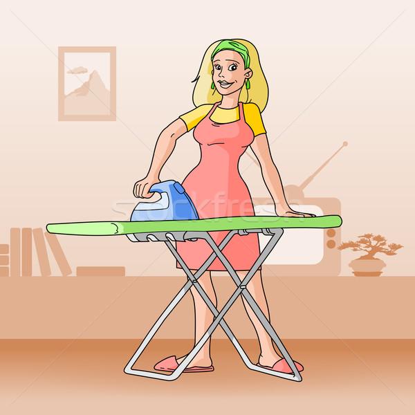 Mulher tv atividade ilustração Foto stock © nikdoorg