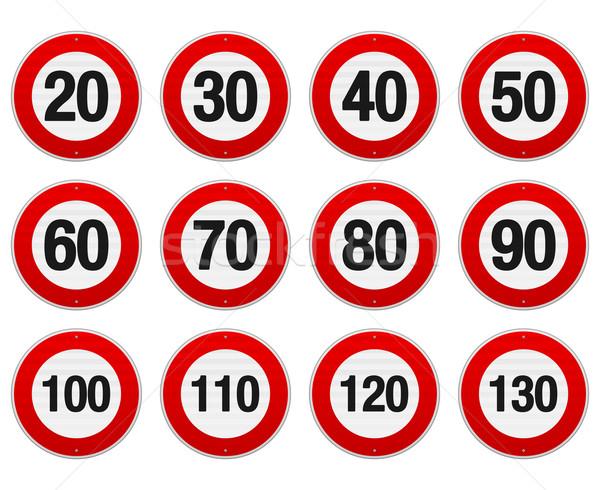 Limite de velocidade assinar conjunto isolado ilustração círculo Foto stock © nikdoorg