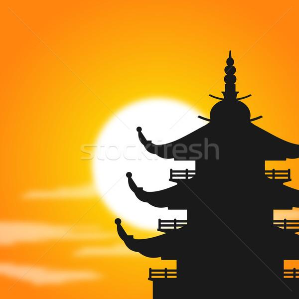 Asian pagode silhouette crépuscule soleil derrière Photo stock © nikdoorg