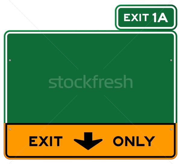 Uitgang teken groene Geel wegteken straat Stockfoto © nikdoorg