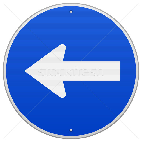 Azul assinar seta direção guiá branco Foto stock © nikdoorg