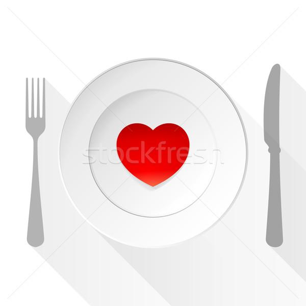 Valentin nap szeretet tányér szív szimbólum villa Stock fotó © nikdoorg