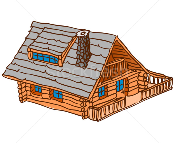 Isolado cabine marrom país casa Foto stock © nikdoorg
