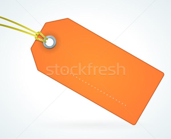 Laranja papel etiqueta vazio enforcamento cartão Foto stock © nikdoorg