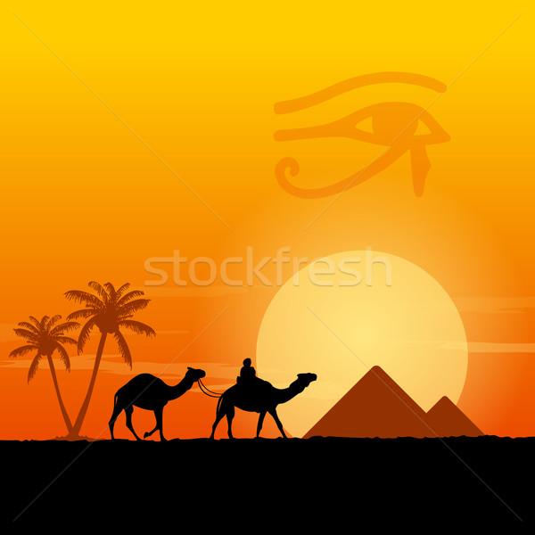 Egypt symbols and Pyramids Stock photo © nikdoorg