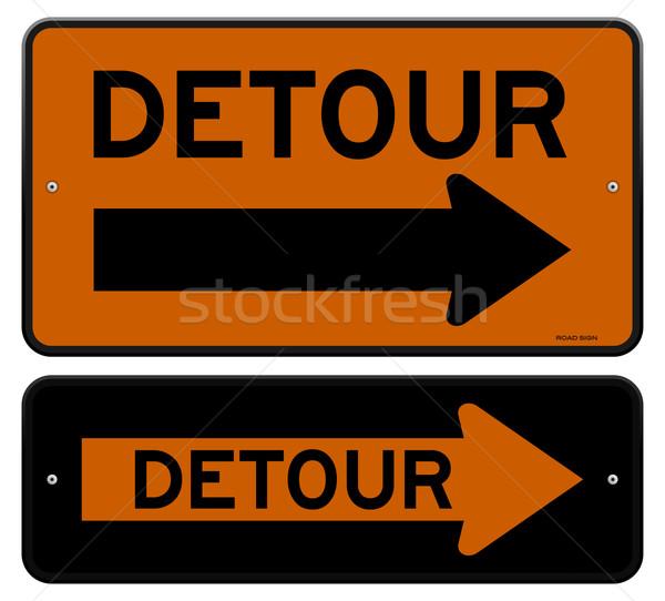 Desvio assinar laranja tráfego placa sinalizadora direito Foto stock © nikdoorg