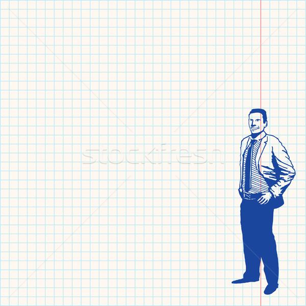 Affaires grille papier bleu dessin homme Photo stock © nikdoorg