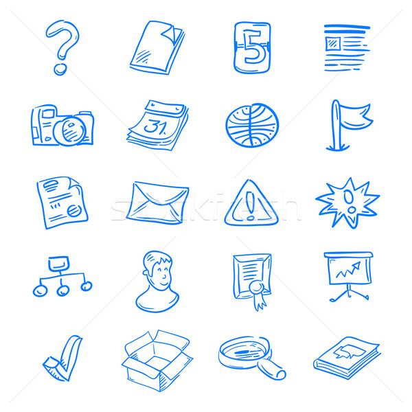 синий веб-иконы значок набор белый компьютер Сток-фото © nikdoorg