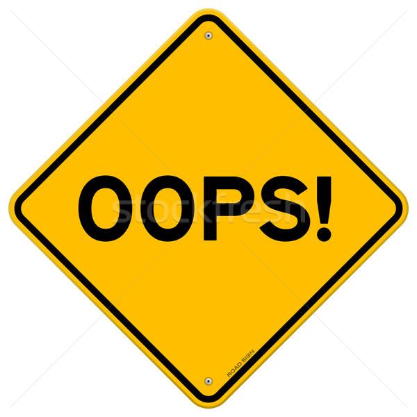 Ups senalización de la carretera ilustración error copiar amarillo Foto stock © nikdoorg