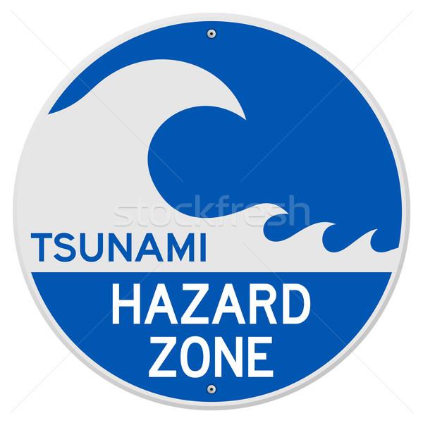 Tsunami tehlike mavi imzalamak tehlike bilgi Stok fotoğraf © nikdoorg