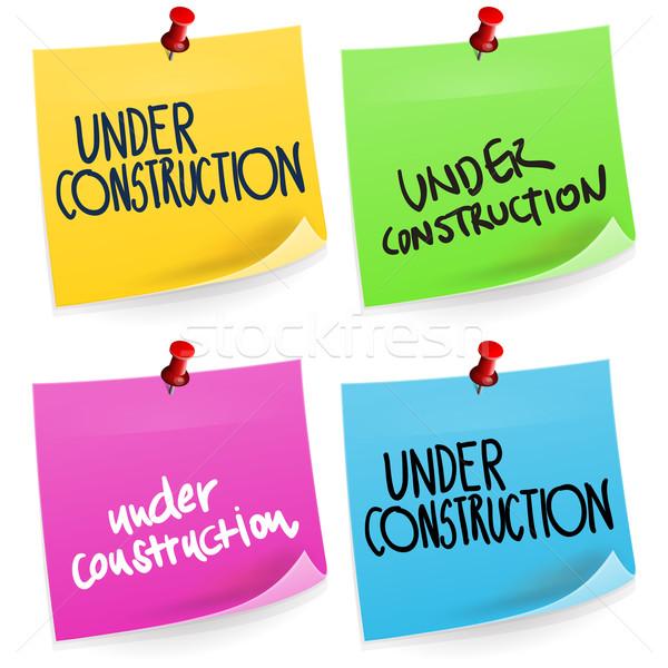 Construção nota pegajosa colorido escritório papel adesivo Foto stock © nikdoorg