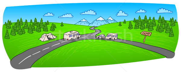 Towing Caravan on the Road Stock photo © nikdoorg
