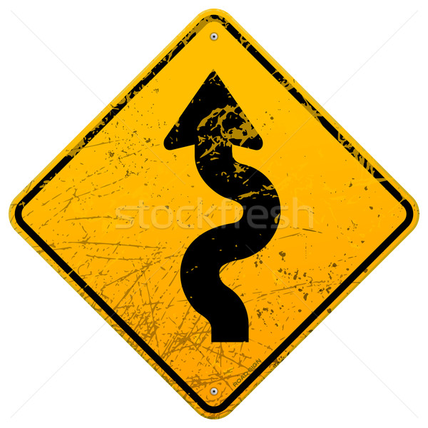 Vintage winding roadsign Stock photo © nikdoorg