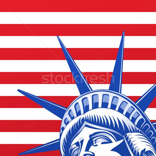 Liberdade estátua cara vermelho azul Foto stock © nikdoorg