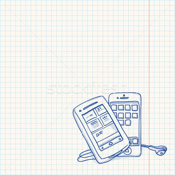 мобильного телефона эскиз рисунок два Vintage Сток-фото © nikdoorg
