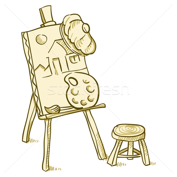 Arte conselho ilustração lona cadeira ferramentas Foto stock © nikdoorg