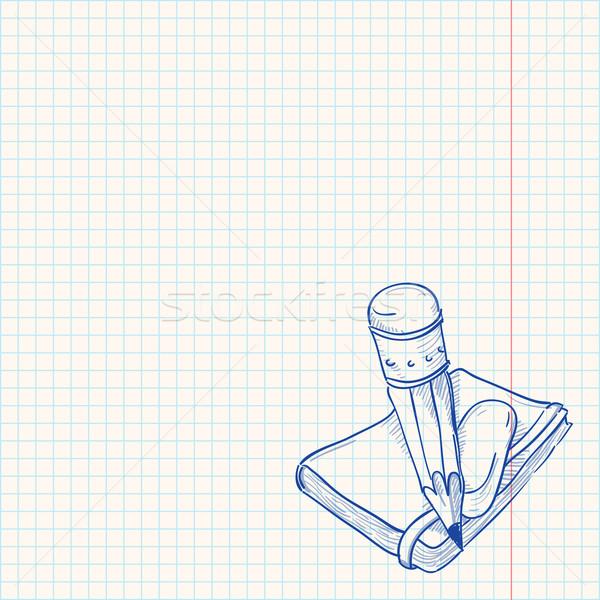 Crayon portable artistique croquis vintage papier Photo stock © nikdoorg