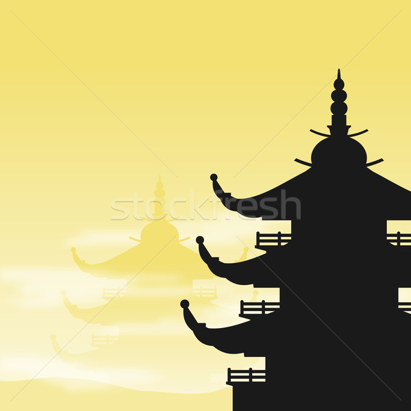 Asian Pagoda Silhouette at Dawn Stock photo © nikdoorg