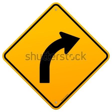 желтый кривая знак дороги впереди Сток-фото © nikdoorg
