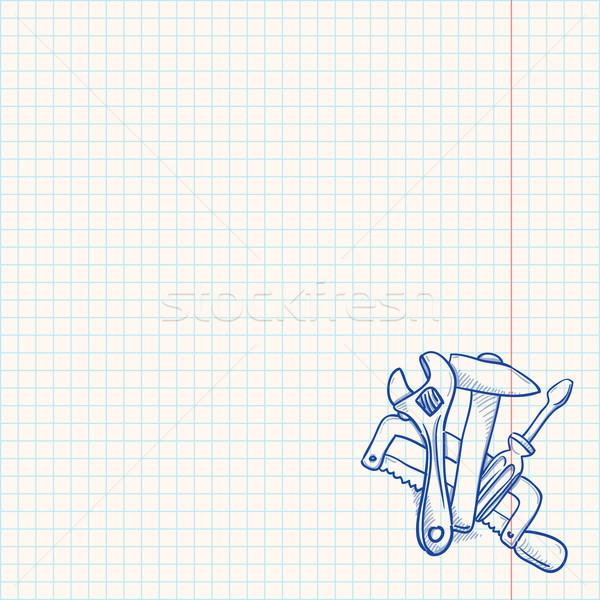 Mantenimiento herramientas dibujo azul lineal boceto Foto stock © nikdoorg