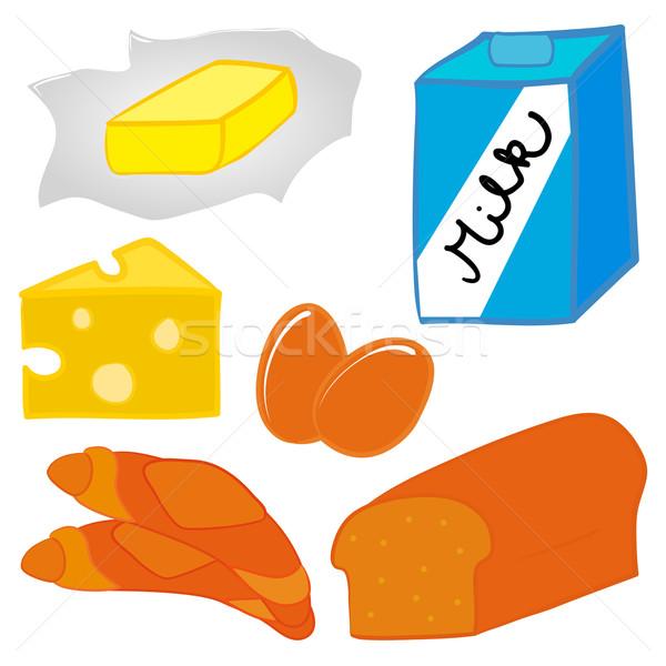 Déjeuner alimentaire pain beurre lait oeufs Photo stock © nikdoorg
