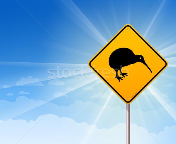 Kiwi madár citromsárga felirat kék illusztráció Stock fotó © nikdoorg