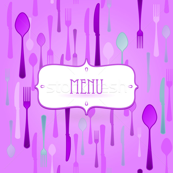 Violeta restaurante cartão talheres textura vetor Foto stock © nikdoorg