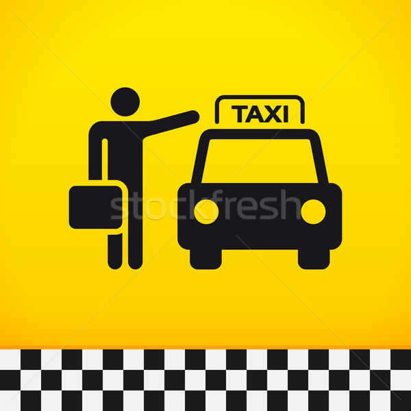 Photo stock: Taxi · attente · valise · main · ville · fond